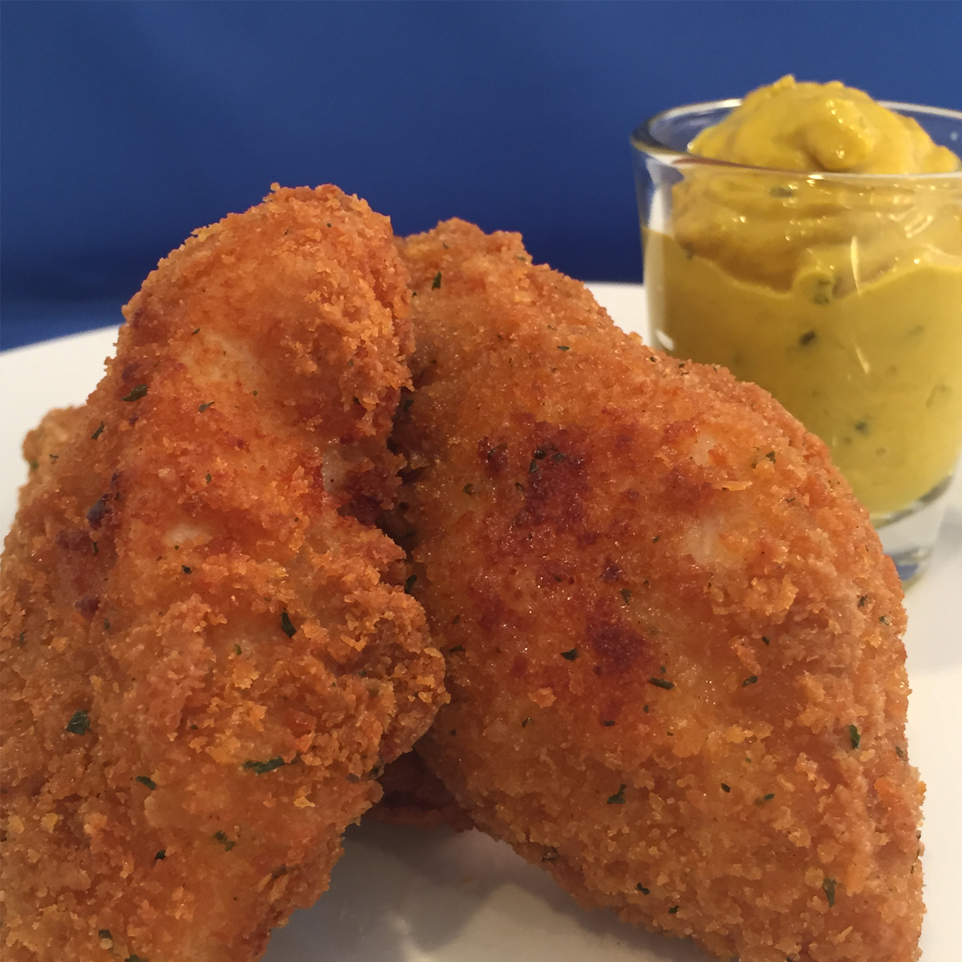 fried chicken fritter with dipping sauce